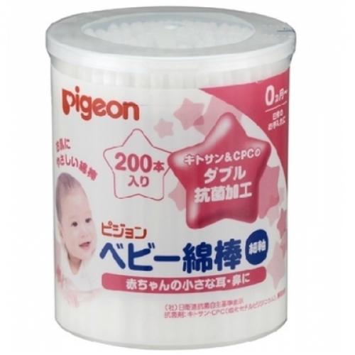 【直邮】日本Pigeon贝亲婴儿棉签宝宝新生耳鼻清洁护理3.6mm细轴两头棉棒200枚