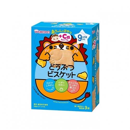 【批发】日本和光堂婴儿宝宝进口辅食零食手指磨牙芝士高钙动物饼...