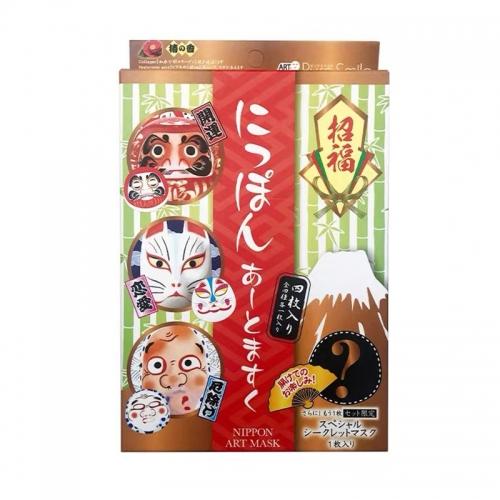 【直邮】日本puresmile江户脸谱面膜保湿招福开运4片